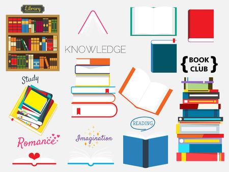 本のコレクション、本クラブ、学校に戻る  イラスト・ベクター素材