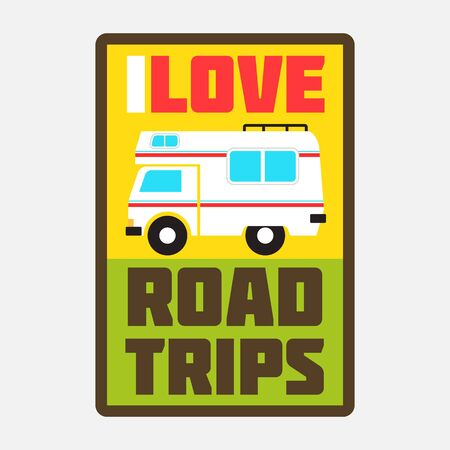 wanderlust: i love road trips badge Illustration