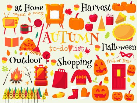 todo: automne to-do list, changement de saison Illustration