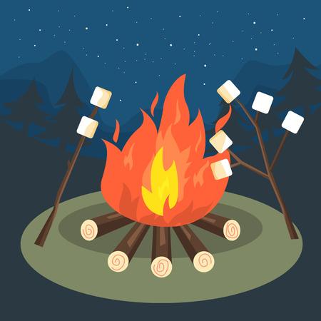 マシュマロ グリル焚き火キャンプ