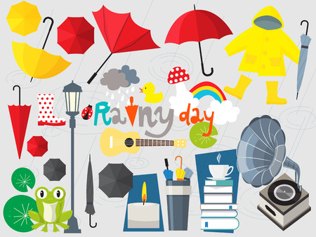 rain cartoon: rainy day illustration,umbrella set,rainy season Illustration