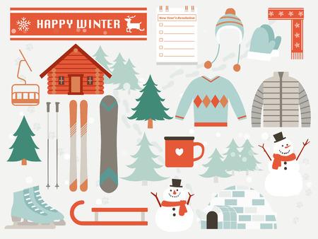 kapelusze: szczęśliwy zima, elementy zimowe Ilustracja