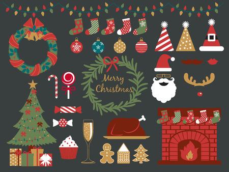 camino natale: allegri elementi di Natale di design, felice anno nuovo, festa di Natale, saluto di stagione