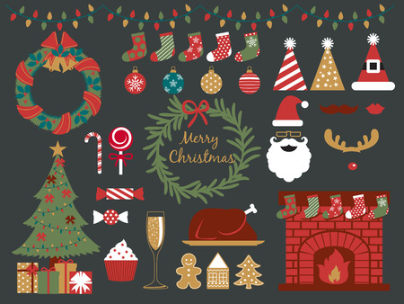 fireplace family: merry christmas design elements,happy new year,christmas party,season greeting