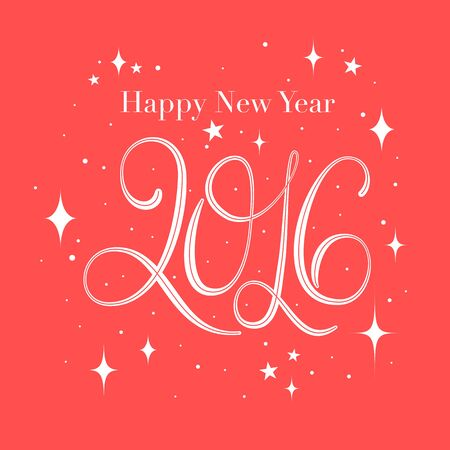 happy new year 2016 greeting card,2016 lettering
