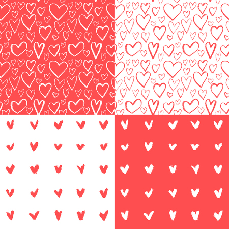 heart background: 4 seamless heart pattern,hand drawn heart background