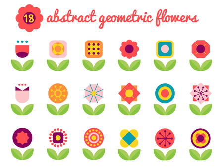 rectangle: abstract geometric flowers,flat design flower icons
