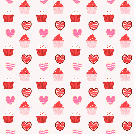 love couples: cupcake seamless pattern background,i love cupcake Illustration