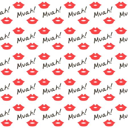 czerwone usta bez szwu wzór, pocałunek tle Ilustracje wektorowe