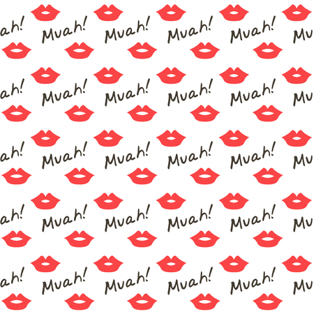 sweet couple: red lips seamless pattern,kiss background