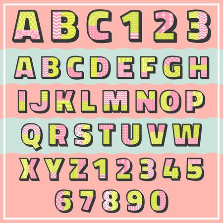 numeric: 2 tone pattern alphabet set,vector font