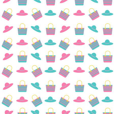 beach bag: beach bag and hat seamless pattern background