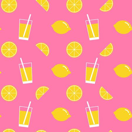 tomando jugo: limón y limonada sin fisuras patrón, fondo del limón