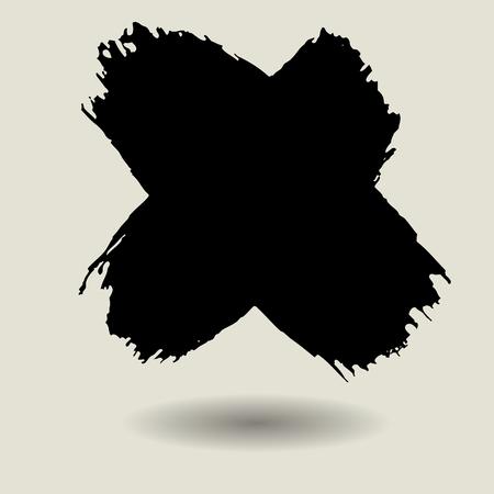 x marks: cross brush texture background template,x mark,label,banner Illustration