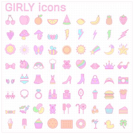 girly icon,cute pastel icon,sweet illustration,rainbow,beauty