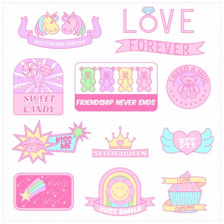 cute girly badges,girl sticker,sweet pastel emblem