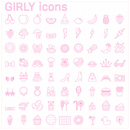 pink girly line icons,beauty icons,girl stamp Illustration