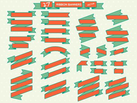 orange ribbon banners,design template,pop art banner set