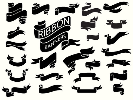 black ribbon banners,design template,curved ribbon banners Illustration