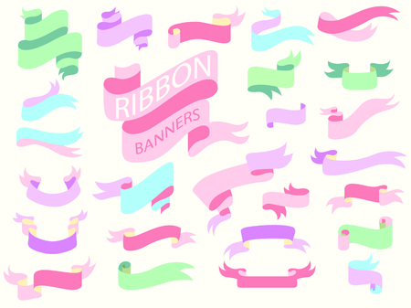 sweet pastel ribbon banners,girly design template,curved ribbon banners Illustration