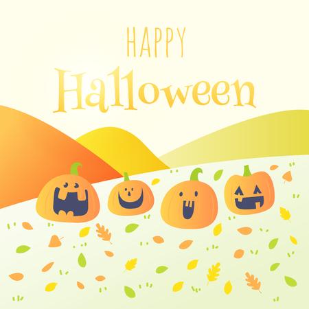 happy halloween card,pumpkin cartoon Illustration