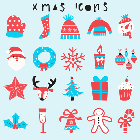 a holiday greeting: happy christmas icon set, merry xmas illustration,season greeting,holiday