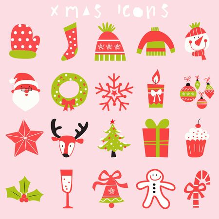 happy christmas icon set, merry xmas illustration,season greeting,holiday