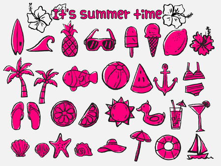 beach party: summer doodle icons,brush sketch illustration,beach icons