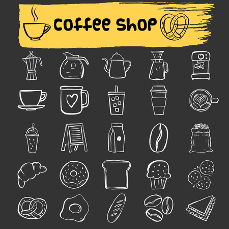 coffee beans: Coffee shop doodle icons,cafe stamp,hand drawn icons