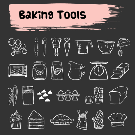A baking tools doodle icon,bakery. 일러스트
