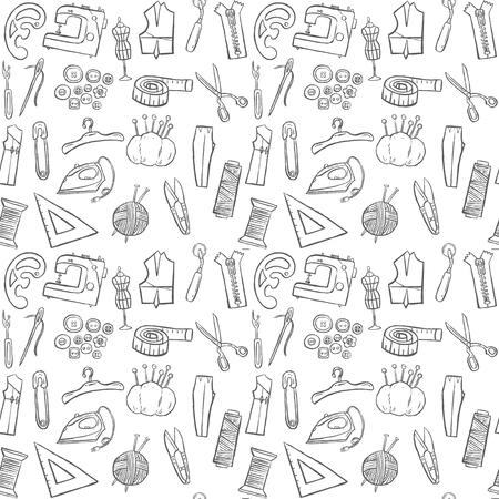 Nähen Doodle Nahtlose Muster Hintergrund Lizenzfrei Nutzbare ...