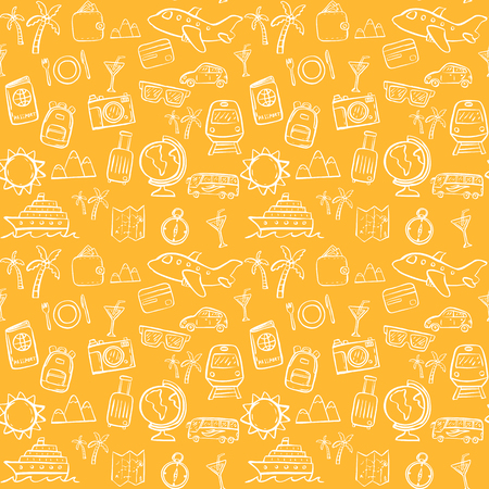 travel doodle seamless pattern background
