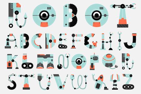 Robot font, robotics alphabet set.