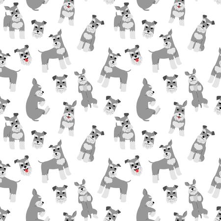 patrón de schnauzer miniatura, poses de perro, raza de perro Ilustración de vector