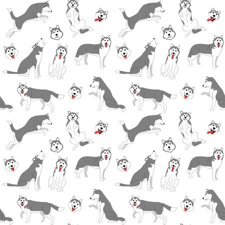 patrón de husky siberiano, poses de perro, raza de perro, patrón sin costuras