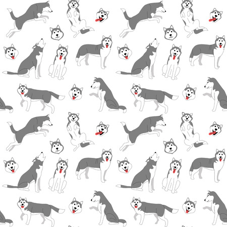 siberian husky pattern,dog poses,dog breed,seamless pattern