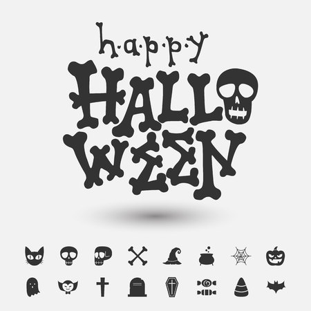 happy halloween card,halloween lettering and icons Иллюстрация