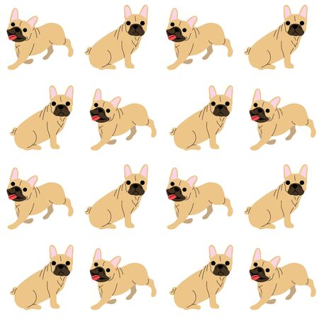 French bulldog pattern background, dog poses