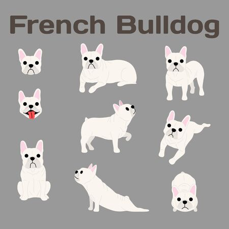 French bulldog illustration, dog poses Foto de archivo - 126121815