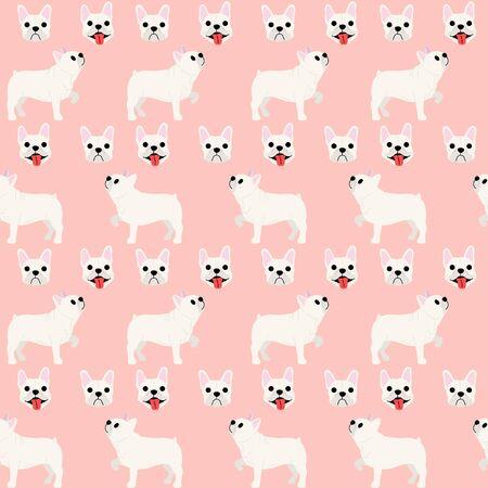 French bulldog pattern background, dog poses