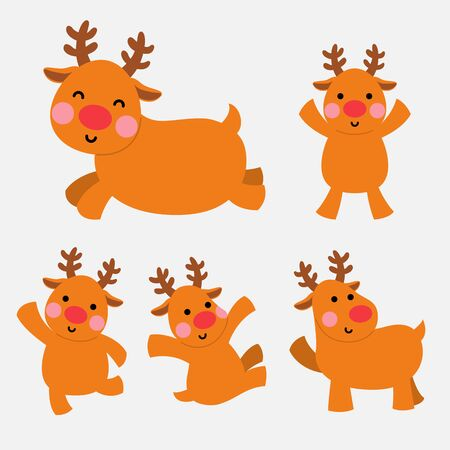 cute reindeer character illustration set