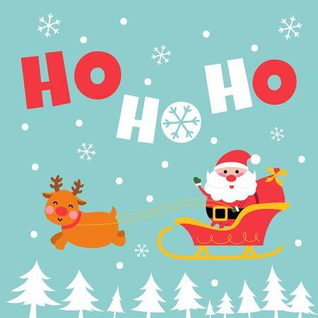 santa sleigh ride greeting card cartoon style