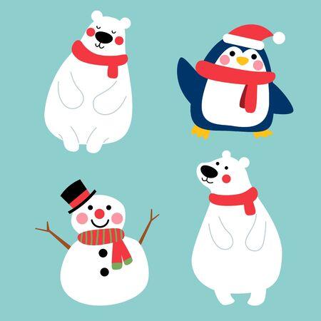 cute winter character friends illustration,penguin polar bear and snowman character set