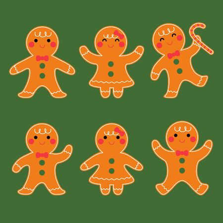 gingerbread character illustration set,cute christmas character,gingerbread boy and girl
