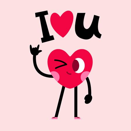 cute heart cartoon character greeting card,happy valentines day,love message 일러스트
