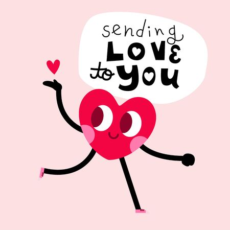 cute heart cartoon character greeting card,happy valentines day,sending love to you message 일러스트