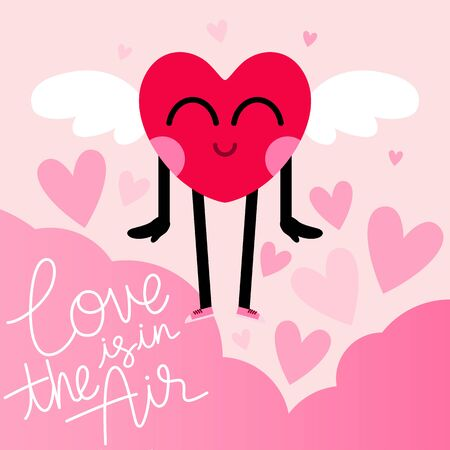 cute heart cartoon character greeting card,happy valentines day,love is in the air message