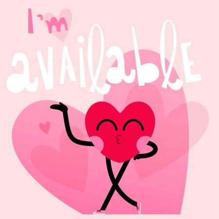 cute heart cartoon character greeting card,happy valentines day,im available message 일러스트