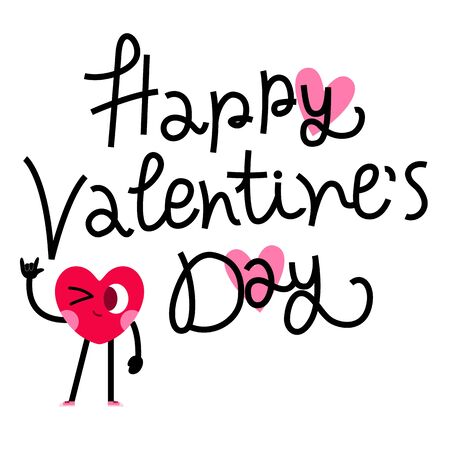 cute heart cartoon character greeting card,happy valentines day
