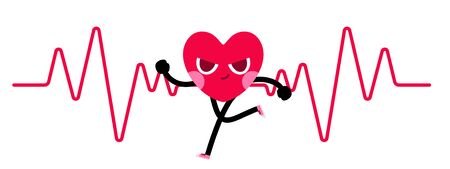cute heart cartoon character run,cardio workout 일러스트